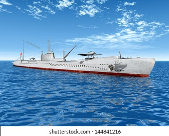 Japanese Submarine from the second World War Computer generated 3D illustration