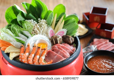Japanese sukiyaki in traditional