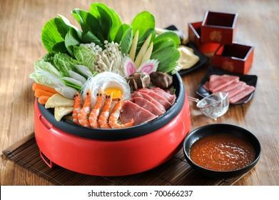 Japanese sukiyaki in traditional