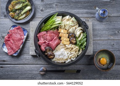 Japanese Sukiyaki in traditional Casr Iron Pot