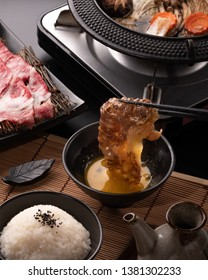 Japanese Sukiyaki With Wagyu and Vegetable