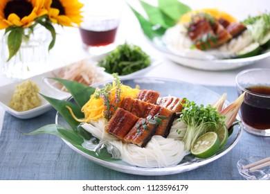 Japanese summer cuisine, somen with kabayaki eels