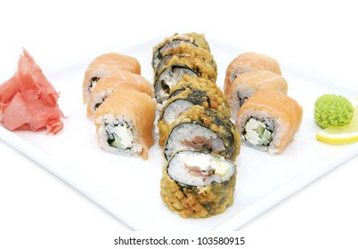Japanese sushi fish and seafood on white background