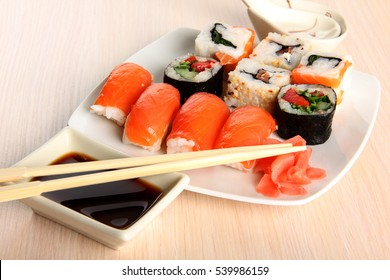 Japanese sushi food on a plate