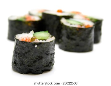 Japanese sushi nori on a white background. Isolation, shallow DOF