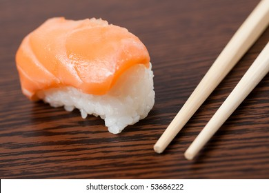 japanese sushi on wooden table