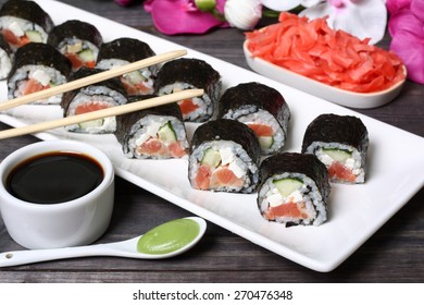 Japanese sushi rolls with salmon and tofu