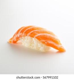 Japanese Sushi - Sake Nigiri Sushi (Salmon Sushi) on White Background