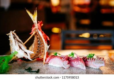 Japanese Sushi Sashimi fresh Aji fish or horse mackerel, beautiful dish decoration