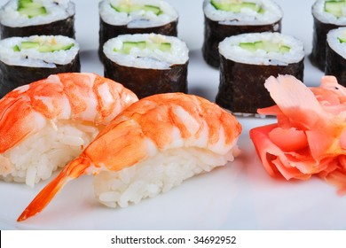 Japanese sushi set with shrimps