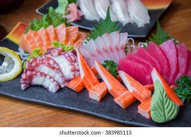 Japanese Sushi set with variety of fresh fish