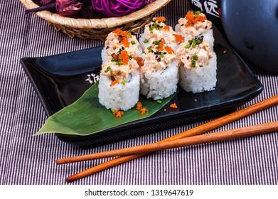 Japanese sushi and sushi sticks close up