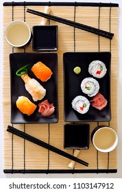 Japanese sushi with vinegared rice, seafood, marinated ginger and vegetable.