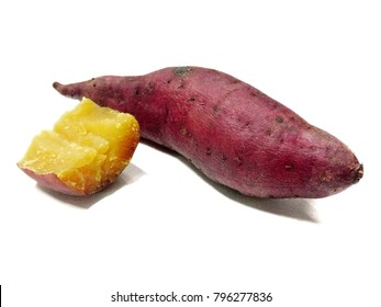 Japanese Sweet Potato steamed on white background