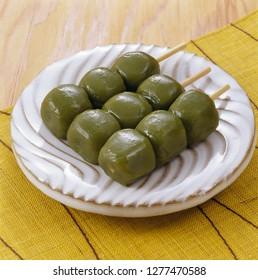 Japanese sweets, Kusa-dango (a rice-flour dumpling flavored with mugwort )