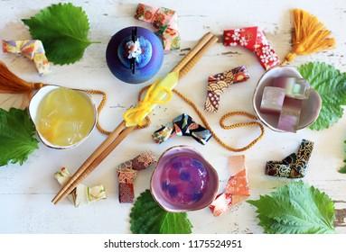 Japanese sweets & leaf