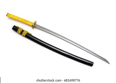 Japanese sword and scabbard on white background