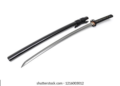 Japanese sword steel fitting and black cord with shiny black scabbard on white background.