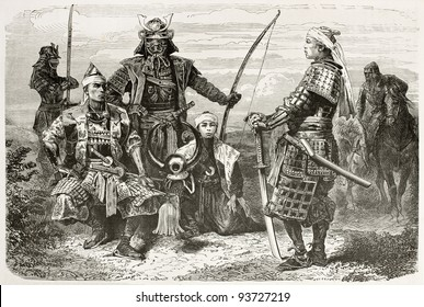 Japanese Taikuns general and officers old war costumes. Created by Neuville after paintings and photos by unknown Japanese authors, published on Le Tour du Monde, Paris, 1867