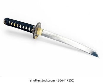 Japanese Tanto knife short sword isolated on white background