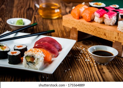 Japanese tasty sushi set