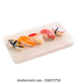 Japanese tasty sushi set on Wooden trencher