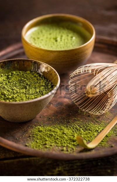 Japanese tea ceremony setting, matcha tea and green tea utensils