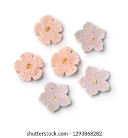 Japanese tea ceremony sweets in flower shape isolated on white background
