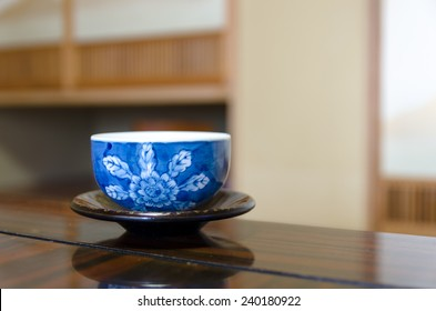 Japanese tea cup on wooden