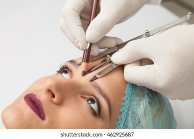 Japanese technique of drawing eyebrows. Permanent make up.