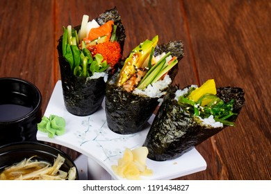 Japanese Temaki set with miso soup and seafood