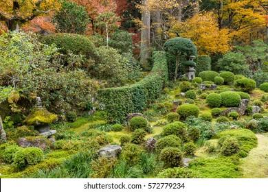 Japanese temple in Autumn landscape
