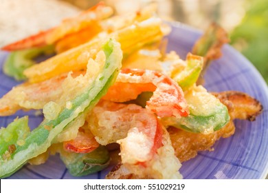 Japanese tempura with fresh vegetables deep fried .Japanese cuisine.