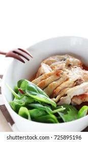 Japanese Teriyaki Chicken served with baby leaf vegetable
