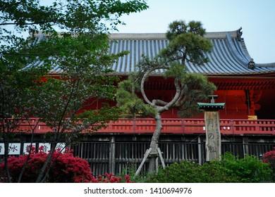"Japanese text is ""Moon pine tree"", round shaped pine tree. ""Hiroshige Utagawa"", Ukiyoe artist name, ""Edo hundred views"", his artwork series, and ""Shimizu kannon do"" shrine name. Ueno, Tokyo, Japan."