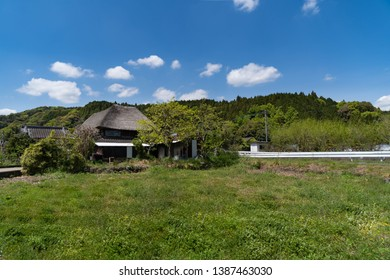 Japanese thatched roofed house is in rural area of Saga prefecture, JAPAN.