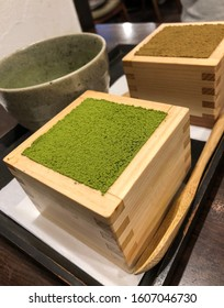 Japanese tiramisu with the addition of traditional Japanese matcha tea. Photo taken in Kyoto