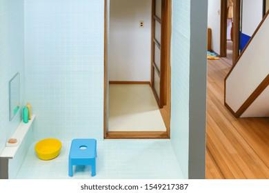 Japanese tradition bathroom and living room included small toy set decorate in Nobita character cartoon home at Fujiko F Fujio Museum, Doraemon Museum, Kawasaki, Tokyo, Japan