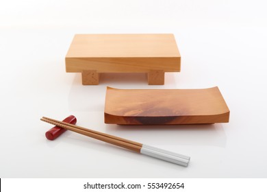 Japanese tradition tools, wooden plates for sushi