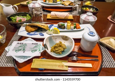 japanese traditional breakfast served in a ryokan.