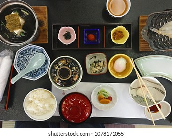 Japanese traditional breakfast set in Ryokan(The Japanese style hotels) in Ishikawa Province.  This set is based on Rice, Eggs, Tofu, Fish and flour