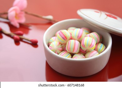 Japanese traditional candy shaped like traditional Japanese cotton handball, especially Kyoto style confectionery on March for Girl's Festival in Japan/ Ball-shaped Candy, Japanese sweets