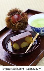 japanese traditional confection, kuri mushi yokan, steamed sweetened adzuki bean paste with chestnuts
