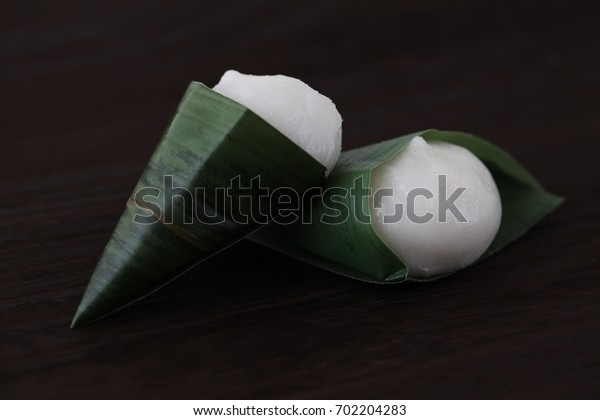 Japanese traditional confectionery rice cake dumpling on wood board