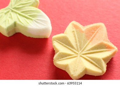 Japanese traditional confectionery, Wagashi on red background