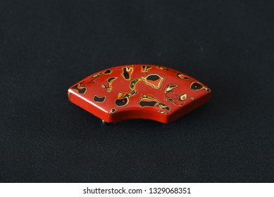"""Japanese traditional crafts """"Tsugaru lacquering"""" / Lacquered sash clip (called """"Obi dome"""" in Japan)."""