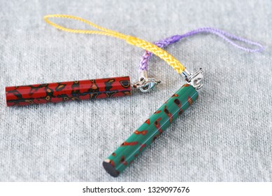 """Japanese traditional crafts """"Tsugaru lacquering"""" / Lacquered key chain."""