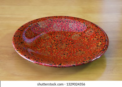 """Japanese traditional crafts.""""Tsugaru lacquering"""" / Lacquered cake tray."""