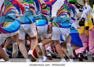 Japanese traditional dance festival (awa-odori in japanese) in summer