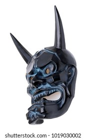Japanese traditional demon mask used in Noh theater, white background
